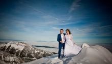Zdjecia slubne w gorach na sniegu zima Kasprowy Wierch Zakopane Tatry