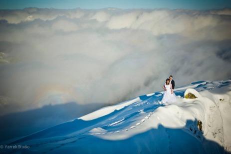 Zdjecia slubne w gorach zima kasprowy wierch zakopane tatry